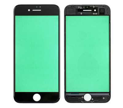 Стекло с рамкой для iPhone 7, Черное фото 1